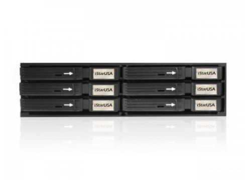 "iStarUSA 5.25"" to 6x 2.5"" SATA SAS 6 Gbps HDD SSD Hot-swap Rack"