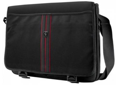"""FERRARI Tablet Bag 13"""" Scuderia Black And Red Piping"""