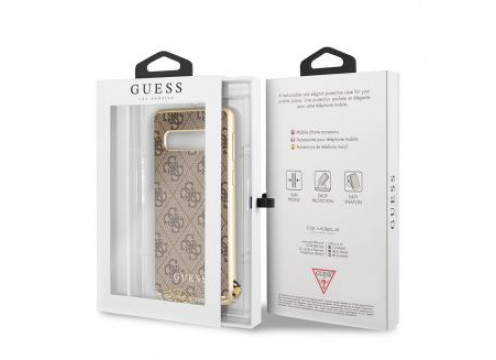 Galaxy S10 GUESS Logo CHARMS COLLECTION Hard Case - Brown