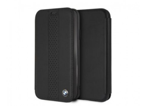 Iphone XR BMW PERFORATED CENTSTRIPE Real Leather PC/TPU Booktype Case - Black