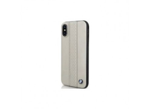 IPhone X/XS BMW PERFORATED CENTER STRIPE Real Leather PC/TPU Case - Taupe