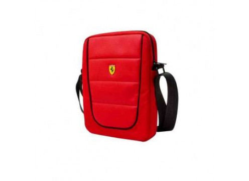 "FERRARI Tablet Bag 10"" Scuderia Red And Black Piping"