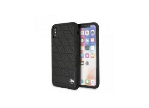 IPhone X/XS BMW EMBOSSED HEXAGON Real Leather Hard Case - Black