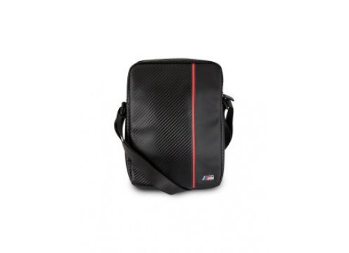 "BMW 15"" Computer BackPack 2 Pockets Carbon PU & Red Stripe"