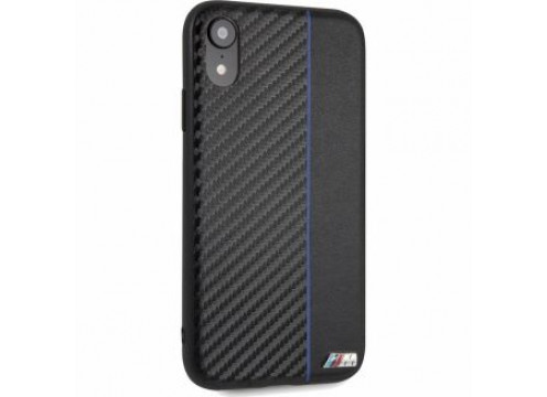 IPhone XR BMW M COLLECTION Carbon PU & Red Stripe Hard Case - Navy