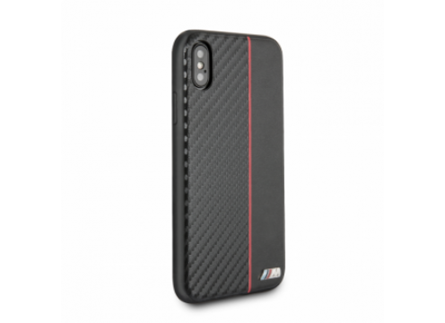 IPhone XR BMW M COLLECTION Carbon PU & Red Stripe Hard Case - Black