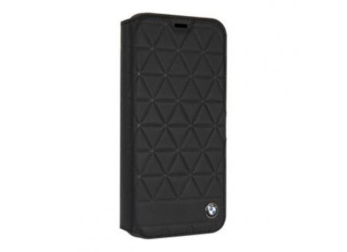 IPhone XR BMW EMBOSSED HEXAGON Real Leather Booktype Case - Black
