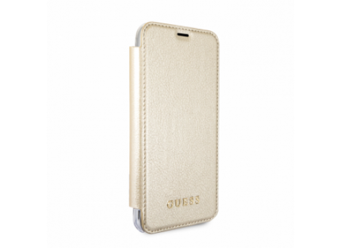 IPhone X/XS GUESS IRIDESCENT PU Leather & Transp Casing Booktype Case - Gold