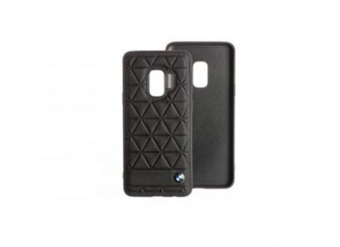 Galaxy S9 BMW EMBOSSED HEXAGON Real Leather Hard Case - Black
