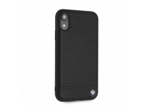 IPHONE XR BMW SIGNATURE Perforated Leather TPU/PC case Horizontal Smooth Black