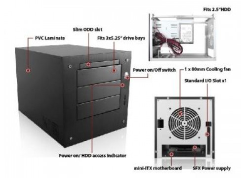 """Industrial Case Compact Stylish Mini-ITX with 3 5.25"""" bays"""