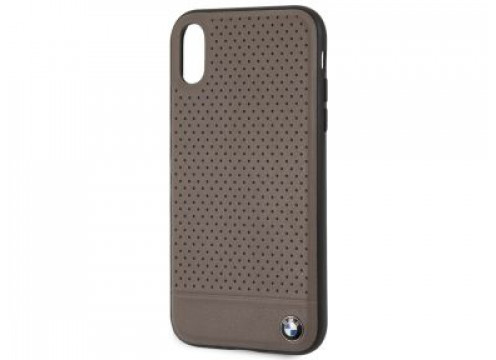 IPhone XR BMW SIGNATURE Perforated Leather TPU/PC Case Horizontal Smooth Brown